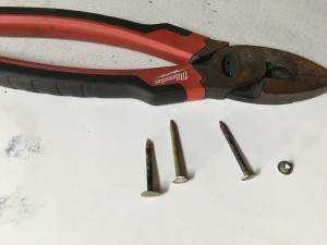 Start to finish - annealed nail, course ground, filed and trimmed arming nail