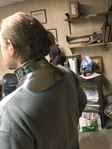 Dean Modelling a 1560 gorget reproduction - Back