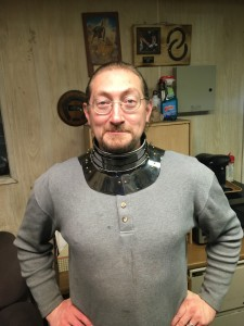 Dean Modelling a 1560 gorget reproduction - Front