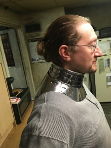 Dean Modelling a 1560 gorget reproduction - Right side